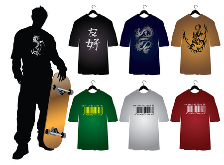 Template of Mens t-shirts with different signs