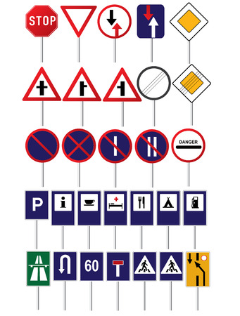 tiers: Road traffic different vector signs collection