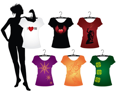 Template of Womans t-shirts with different signs