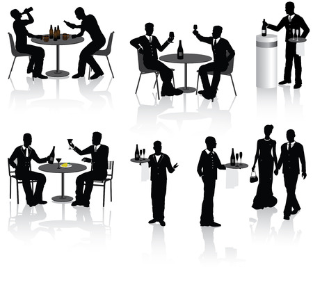 men bars: People, couples and a waiters in restaurant, vector illustration.