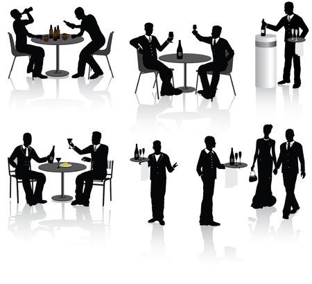 pareja comiendo: Personas, parejas y un camareros en restaurante, vector de ilustración.