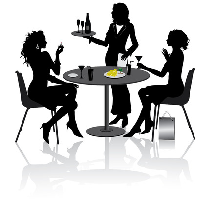 Two beautiful girlfriends sit and talk in Restaurant Vector