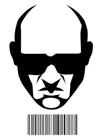 sicario: Cara Hitman y de c�digos de barras de identificaci�n Vectores
