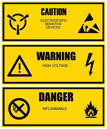 cautious: Etiqueta de advertencia y precauci�n vector amarillo plantilla