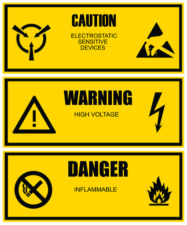 Warning and caution yellow vector label template