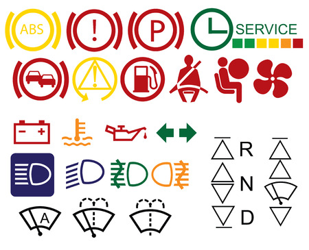 Car dashboard signs isolated on white background Illustration