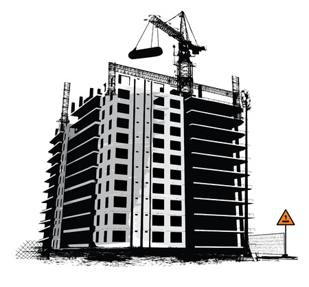commercial construction: Construction work site industrial background Illustration