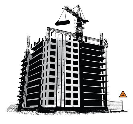 steel construction: I lavori di costruzione del sito industriale di sfondo