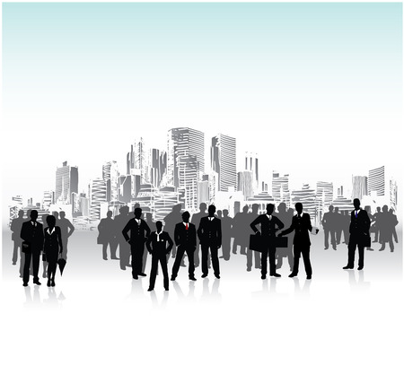 Business people urban crowd, conceptual vector