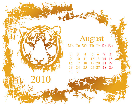 August month with tiger grunge Calendar 2010 year