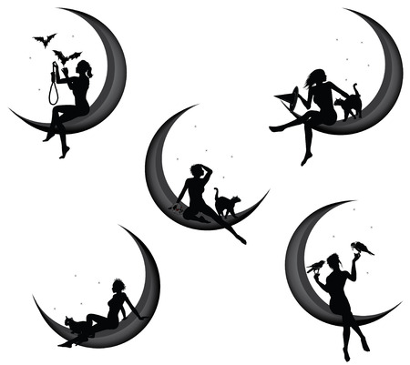 Pretty woman sitting on the crescent, Halloween concept Vector