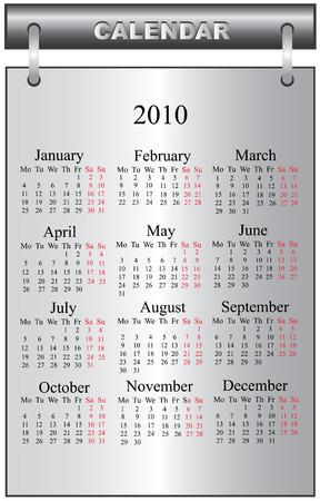 2010 calendar vector illustration Vector