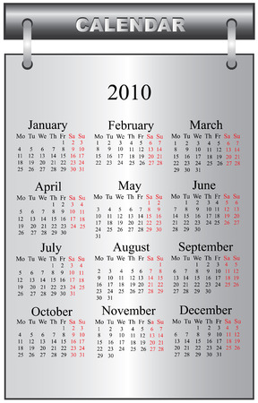 2010 calendar vector illustration