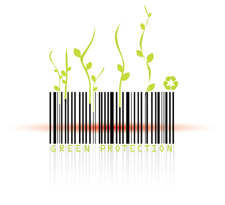 Barcode and red reader beam, conceptual grunge vector