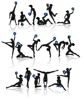 akrobatik: Gymnastik M�dchen Sammlung mit Kugeln Vektor-Illustration