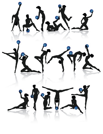 acrobacia: Recogida ni�a Gimnasia con pelotas de ilustraci�n vectorial