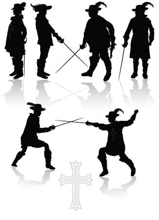 revolucionario: Mosqueteros Real recogida en diferentes poses ilustraci�n vectorial