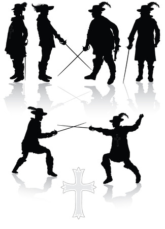 Royal musketeers collection in different poses vector illustration Vector