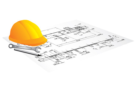 Draft of building and worker tool on a table  Vector