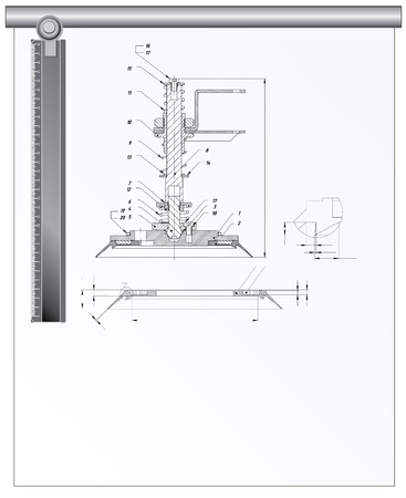 Architectural tools and technical drawing, vector illustration Illustration