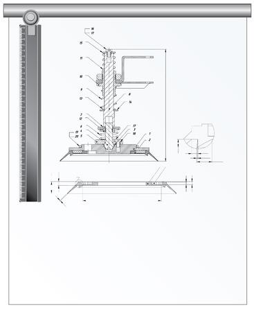 Bouwkundig instrumenten en technische tekening, vector illustration