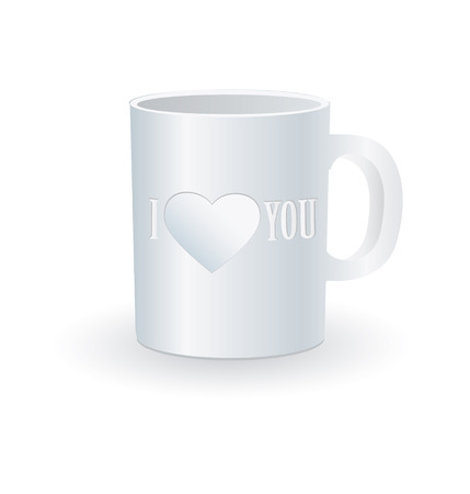 White coffee cup with love print Vector