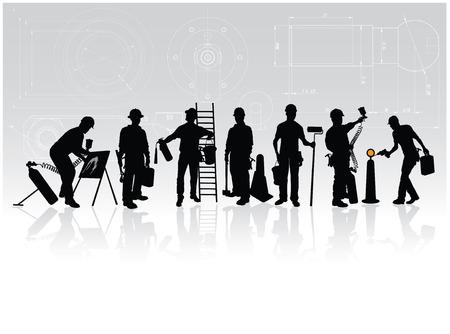 建設: 技術的な背景にさまざまなツールと建設労働者のシルエット