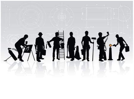 Construction workers silhouettes with different tools on technical background Vector