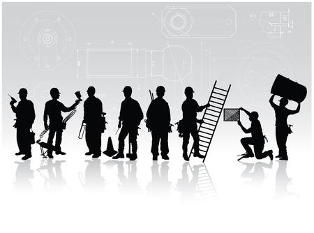 Bouwvakkers silhouetten met verschillende tools op technische achtergrond