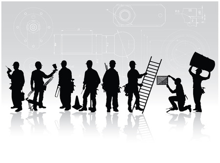 craftsmen: Construction workers silhouettes with different tools on technical background Illustration