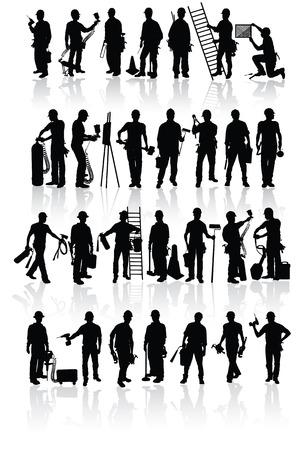 Siluetas de los trabajadores de la construcción aislada con diferentes herramientas