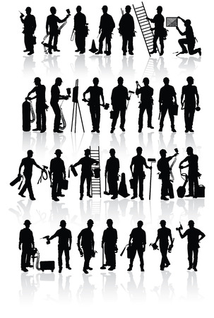 profesiones: Siluetas de los trabajadores de la construcci�n aislada con diferentes herramientas Vectores