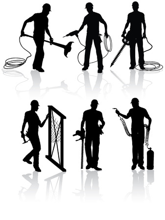 electrical engineer: Isolated construction workers silhouettes with different tools