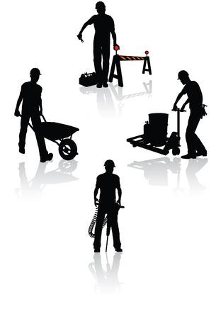 carretilla: Siluetas de los trabajadores de la construcci�n aislada con diferentes herramientas Vectores