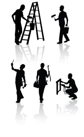 escaleras: Siluetas de los trabajadores de la construcci�n aislada con diferentes herramientas Vectores