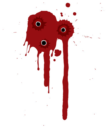 Splattered blood pattern with drips and shotgun holes