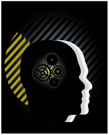 inventions: Gear symbol in the head of a thinking people silhouettes, conceptual vector illustration