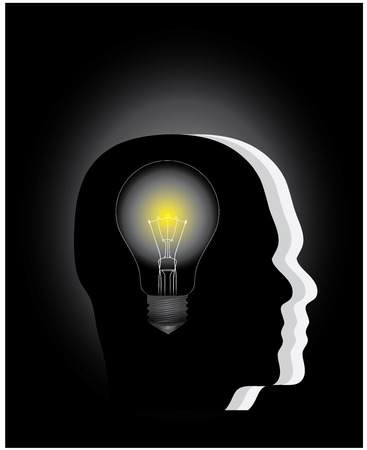 A light bulb in the head of a thinking people, conceptual vector illustration