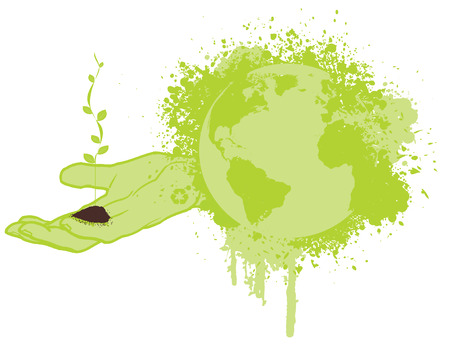 Hand holding dirt and a growing small tree, save the green planet - conceptual vector Illustration