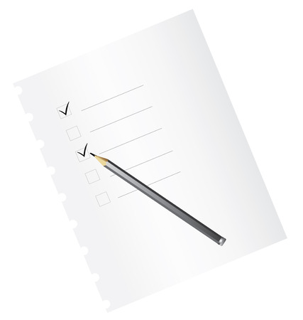 satisfactory: Checklist on paper, with pencil - vector