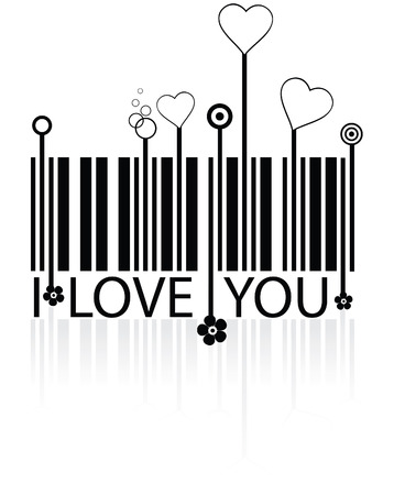 codigos de barra: C�digo de barras con s�mbolos de amor - vector conceptual