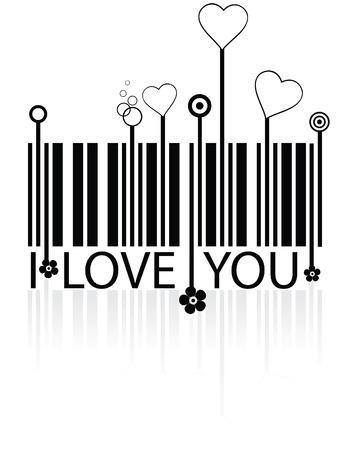 barcode: Streepjes code met liefde symbolen - concept vector