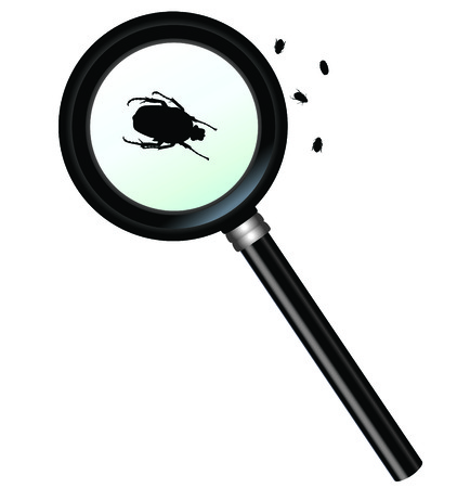 Magnifying glass with insect ñlose up Illustration
