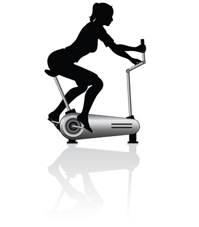 Young woman training on exercise bike - vector illustration Illustration