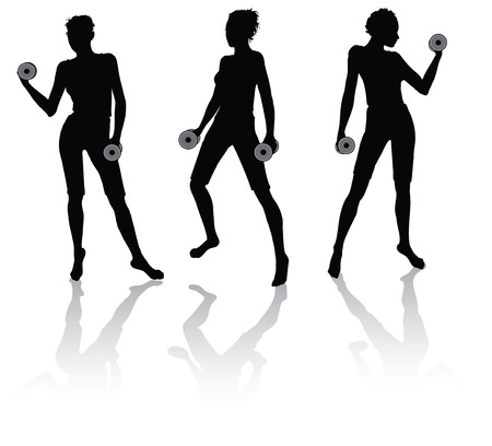 silhouettes of a woman doing fitness with weights