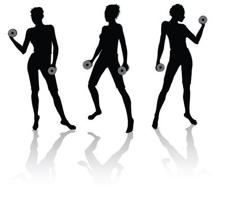 muscle training: siluetas de una mujer haciendo fitness con pesos
