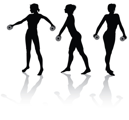 physical training: silhouettes of a woman doing fitness with weights