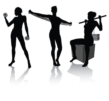 weight machine: silhouettes of a woman doing fitness Illustration