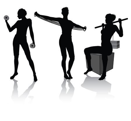 muscle training: siluetas de una mujer haciendo fitness
