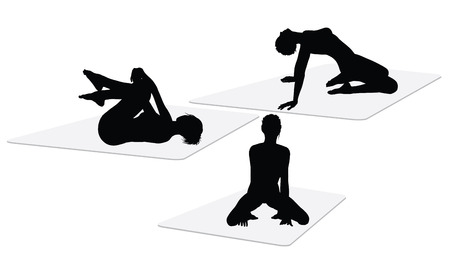 silhouettes of a woman doing yoga